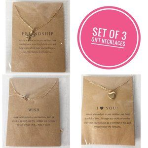 New Set of 3 Gift Necklaces Clover, Heart & Anchor
